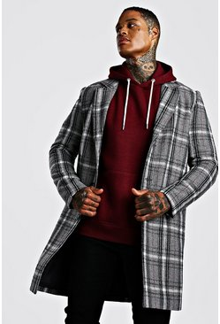 Mens Grey Check Wool Look Overcoat