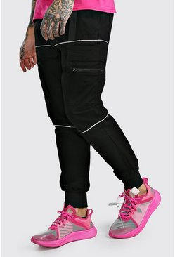 Woven Cargo Joggers With Reflective Piping, Black