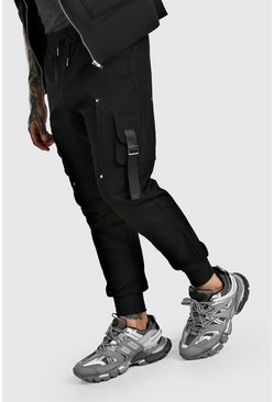 Woven Cargo Jogger With Strap Detail, Black