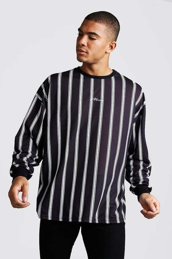 Mens Black Oversized MAN Signature Long Sleeve Stripe Tee