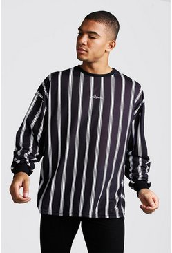 Oversized MAN Signature Long Sleeve Stripe Tee, Black, HOMMES