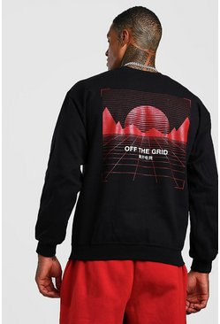 Mens Black Crew Neck Sweat With Graphic Back Print
