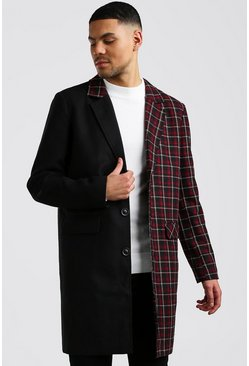 Mens Burgundy Spliced Check Wool Look Overcoat
