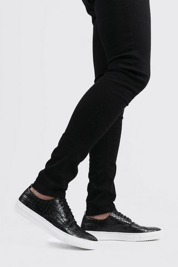 Black Faux Croc Lace Up Trainer