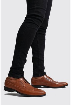 Brown Faux Leather Lace Up Brogues