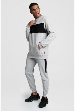Mens Grey Skinny Fit Contrast Chest Panel Pocket Tracksuit