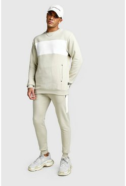 Skinny Fit Contrast Chest Panel Pocket Tracksuit, Taupe
