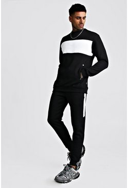 Skinny Fit Contrast Chest Panel Pocket Tracksuit, Black, HOMMES