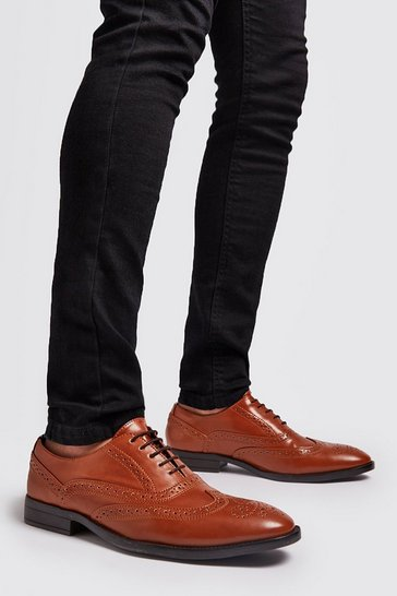 Tan Faux Leather Brogue Detail Formals