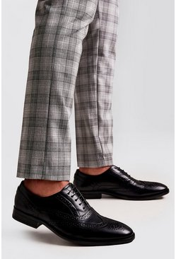 Black Faux Leather Brogue Detail Formals