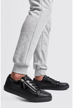 Mens Black Croc Side Zip Trainer