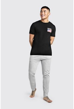Mens Black NASA License Lounge Set