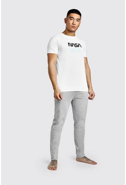 Mens White NASA License Lounge Set