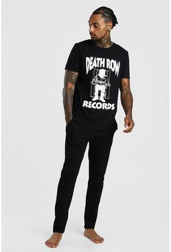 Mens Black Death Row Records License Lounge Set