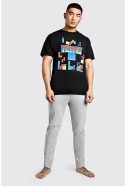 Mens Black Tetris License Lounge Set