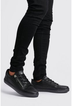 Black MAN Script Sneakers med dragkedja