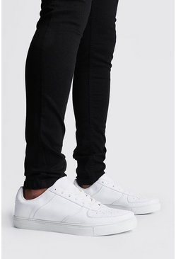 Mens White Lace Up Perforated Toe Trainer