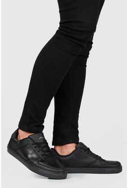 Lace Up Perforated Toe Trainer, Black, МУЖСКОЕ
