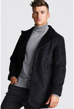 Borg Collar Faux Suede Jacket, Black