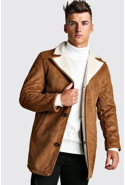Mens Tan Borg Collar Faux Suede Jacket