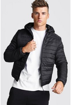 Black Zip Quilted Puffer Jacket