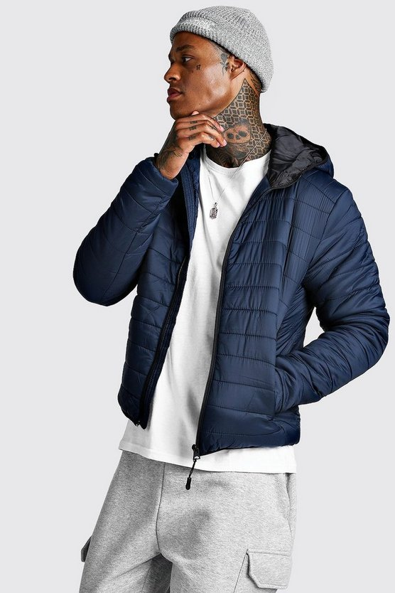 Navy Zip Quilted Puffer Jacket