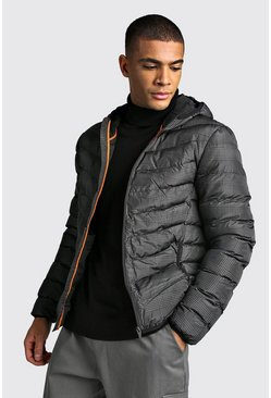 Check Quilted Zip Through Jacket, Black
