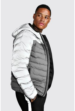 Quilted Zip Through Puffer Jacket, Grey