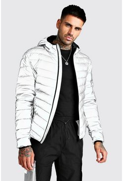 Quilted Reflective Hooded Jacket, Grey