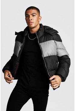 Reflective Colour Block Quilted Hooded Jacket, Black, HOMMES
