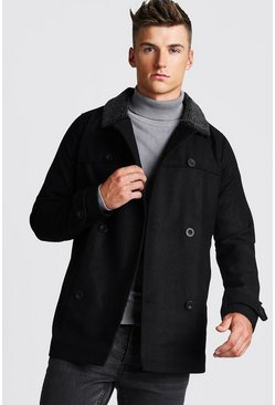 Mens Black Borg Collar Wool Look Double Breasted Peacoat