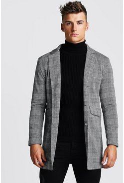Mens Grey Check Single Breasted Overcoat