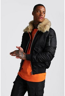 Mens Black Aviator Jacket with Faux Fur Collar