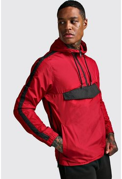 Mens Red Overhead Zip Cagule