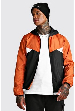 Colour Block Zip Hooded Cagoule, Orange