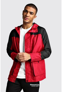 Red Colour Block Zip Through Cagoule