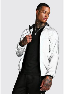 Reflective Hooded Jacket, Silver, HOMBRE