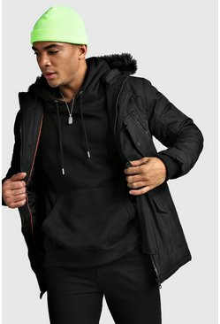 Fur Hooded Padded Parka, Black, HOMBRE