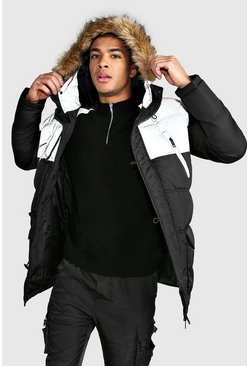 Reflective Colour Block Zip Through Puffer Parka, Black