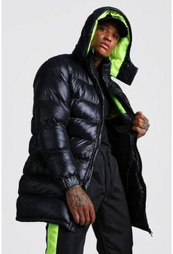 Mens Black Longline High Shine Puffer Jacket