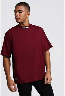 Mens Burgundy Gothic MAN Oversized Neck T-Shirt