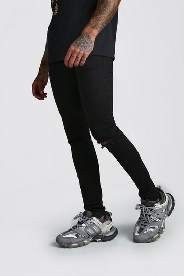 Mens Black Skinny Stretch Jean With Knee Rips