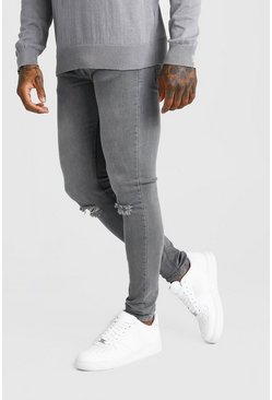 Mens Grey Skinny Jean With Multi Rips