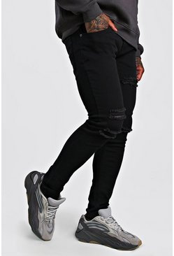 Skinny Jean With Multi Rips, Black, Homme