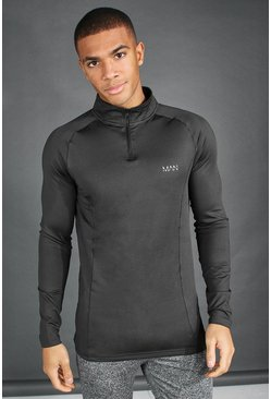 MAN Active Raglan Muscle Fit 1/4 Zip Top, Charcoal, HOMMES