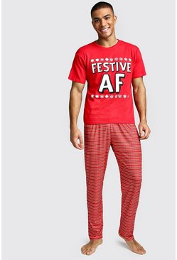 Mens Red Festive AF Christmas Lounge Set