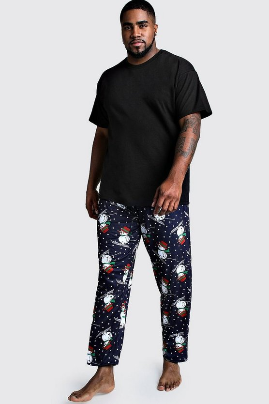 Mens Black Big And Tall Snowman Lounge Set