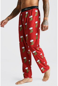 Herr Red MAN Script Stocking Lounge Pant