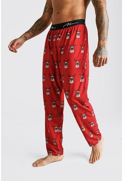 MAN Script Pug Lounge Pant, Red