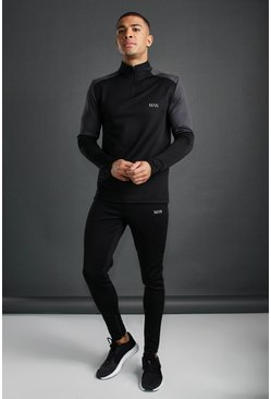 MAN Active Funnel Neck Reflective Detail Tracksuit, Black